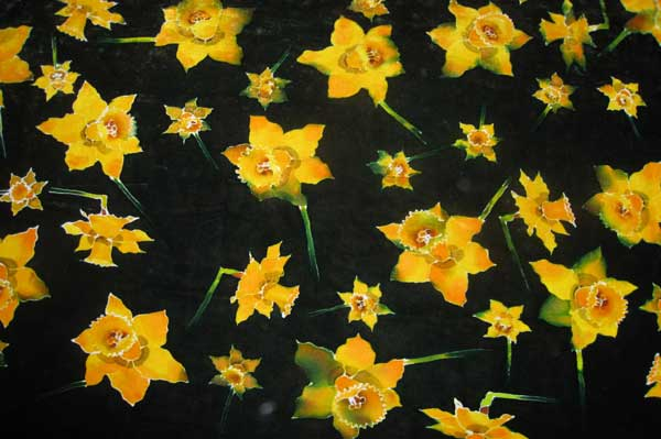 Funeral Pall - Daffodils on dark green, hand painted on velvet